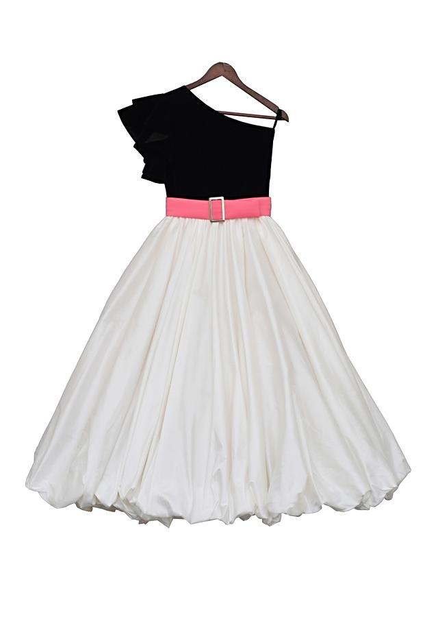 Black and Off White One Shoulder Gown With Ruffle Sleeves By Fayon Kids