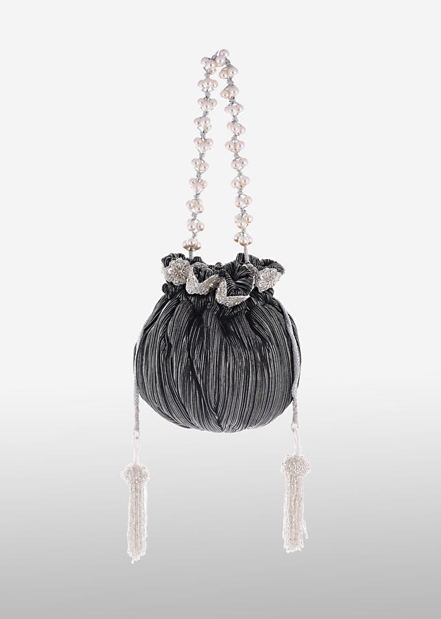 Black And Silver Potli Bag In Silk With Woven Silver Stripes And Cut Dana Embroidery Online - Kalki Fashion