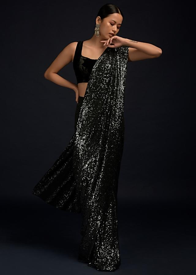 Black And Silver Ready Pleated Saree In Sequins Fabric And Black Velvet Blouse With Scooped Neckline Online - Kalki Fashion