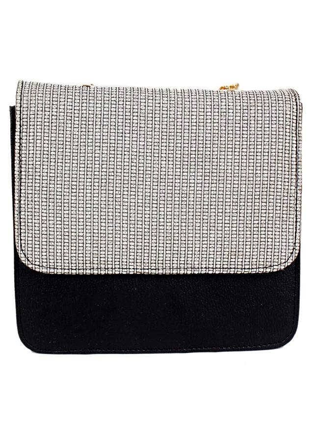 Black And Silver Sling Bag In PU Leather And Printed Fabric Online - Kalki Fashion