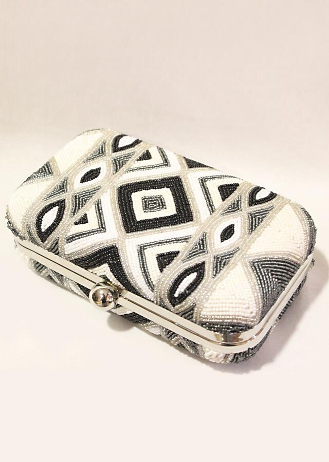 Black And White Box Clutch With Hand Embroidered Cut Dana Work In Geometric Motifs Online - Kalki Fashion