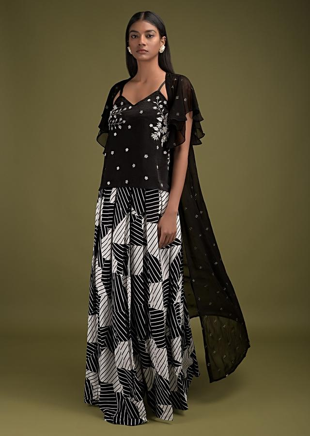 Black And White Palazzo Suit With Geometric Printed Pleated Top Layer, Crop Top And Jacket  Online - Kalki Fashion
