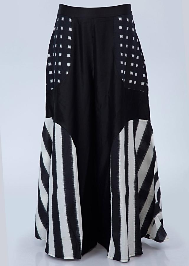 Black And White Shaded Three Piece Palazzo Set In Cotton With Printed Butti And Stripes Online - Kalki Fashion