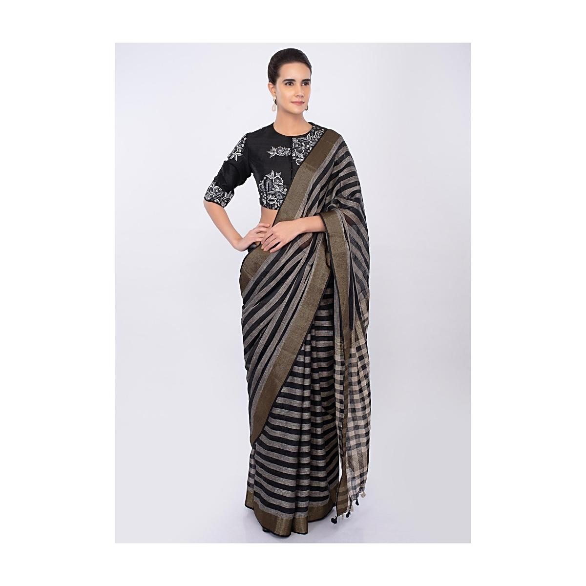 e3522c3a37713 Black and white striped linen saree only on kalkiMore Detail