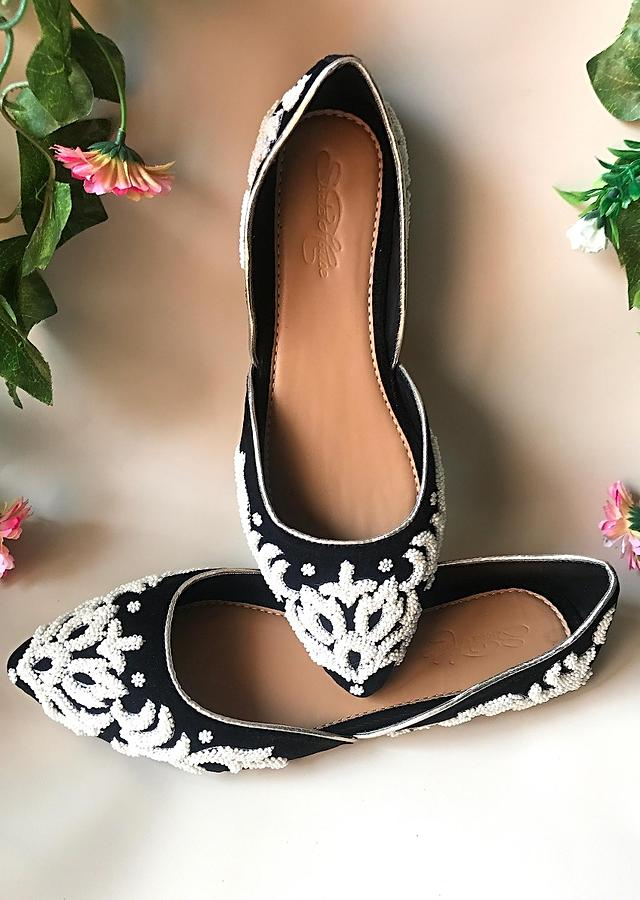 Black Ballet Flats In Velvet With Cream Double Beaded Work In Ethnic Motif Online By Sole House