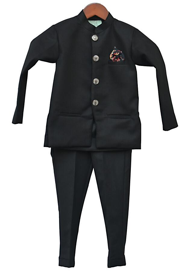 Black Band Gala Suit With Pant by Fayon Kids