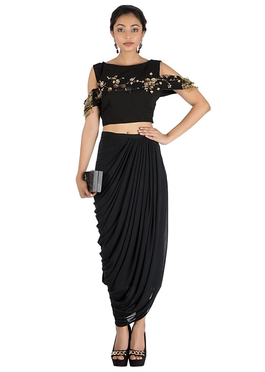 6b4c315c9609e Black Bandeau Crop Top and Dhoti Skirt