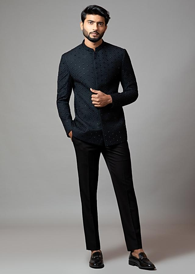 Black Bandhgala Set In Suiting Fabric With Honeycomb And Cut Dana Embroidery By Smriti Apparels