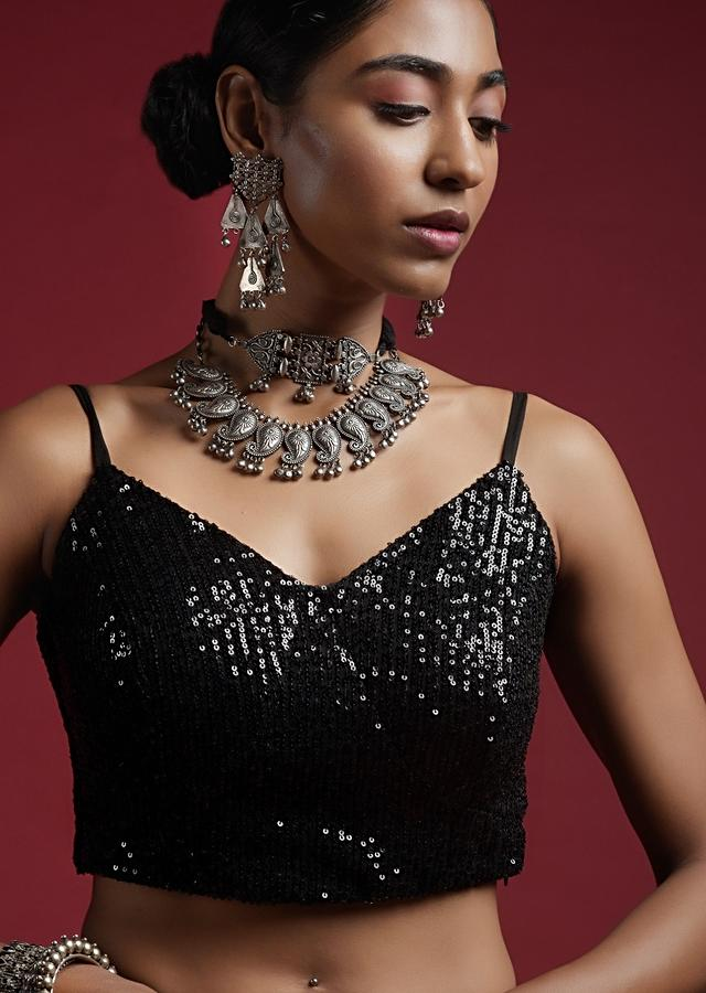 Black Blouse In Sequins Fabric With Strap Sleeves And V Neckline Online - Kalki Fashion