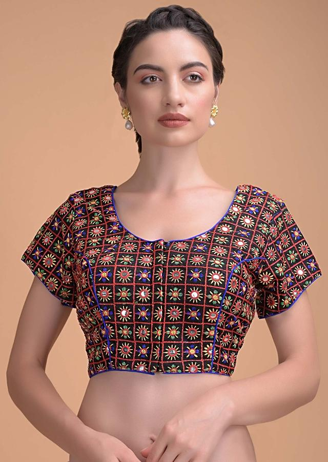 Black Blouse With Colorful Thread And Abla Embroidery In Checks And Flower Motifs Online - Kalki Fashion