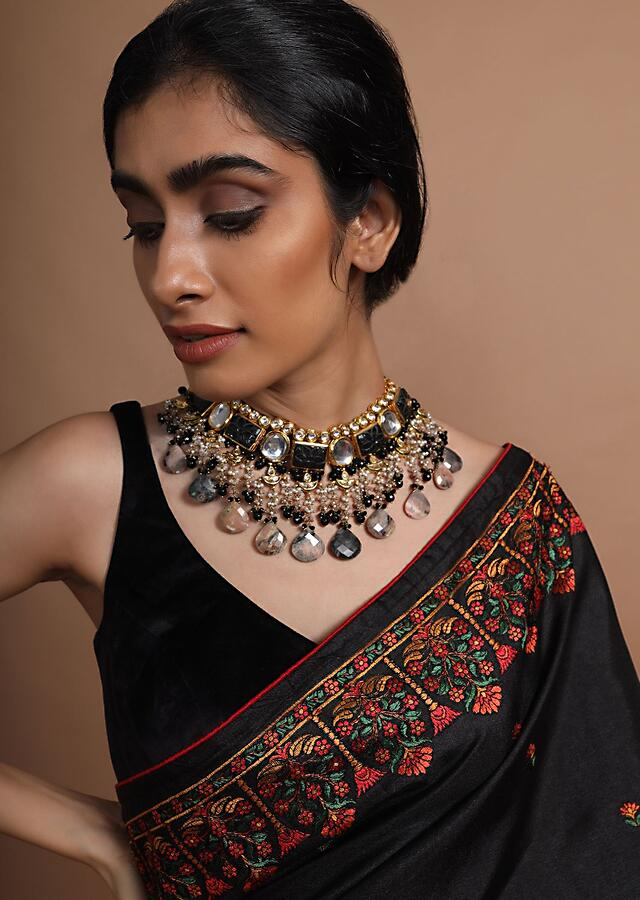 Black Carved Stone And Polki Choker Necklace With Dangling Stones And Beads By Kohar