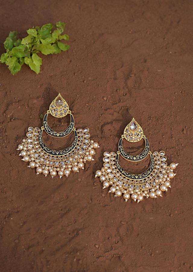 Black Chandbali Earrings With Carved Pattern, Crystals And Dangling Pearls Online - Kalki Fashion