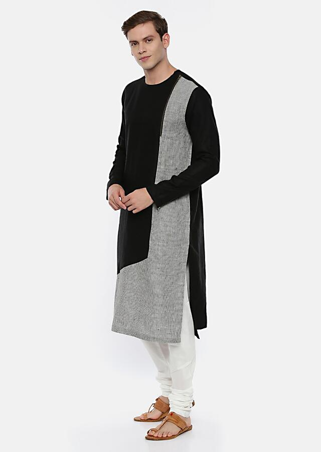 Black Colorblocked Kurta Set In Linen With Grey Checks Fabric And Zip Detailing By Mayank Modi