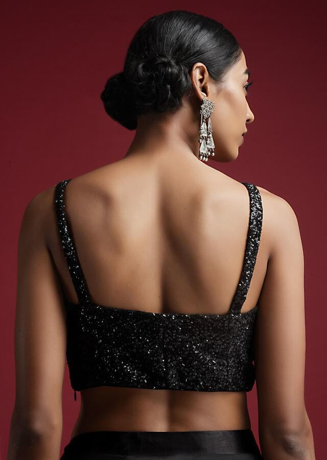 Black Corset Blouse In Sequins Fabric With Straps Sleeves And Front Zip Closure Online - Kalki Fashion