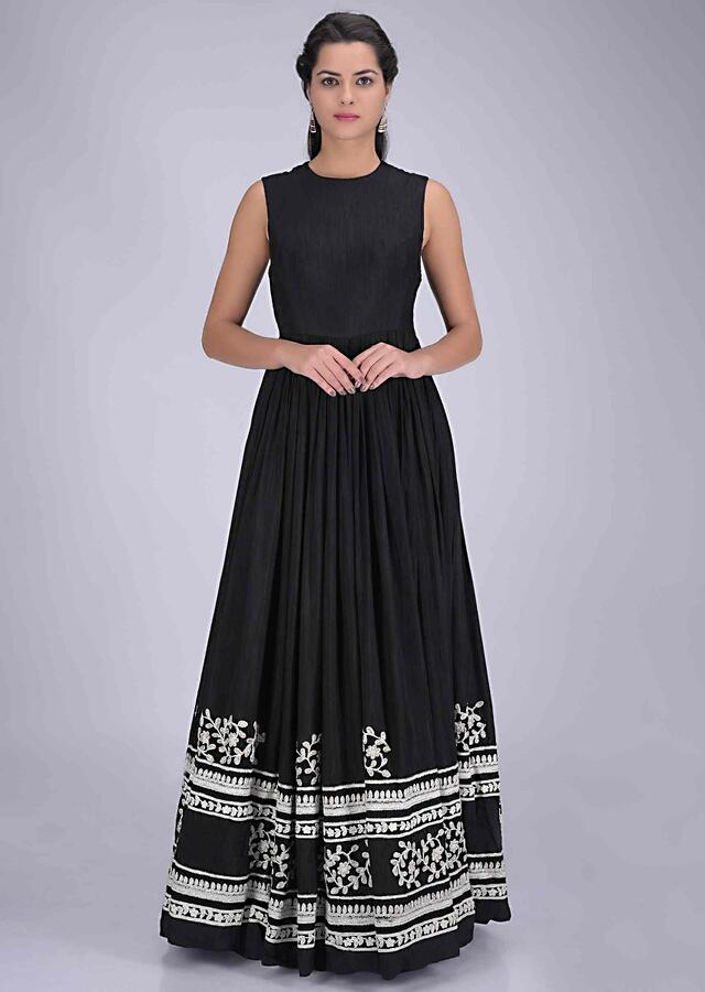 Black Gown In Cotton Silk With Embellished Net Short Jacket Online - Kalki Fashion