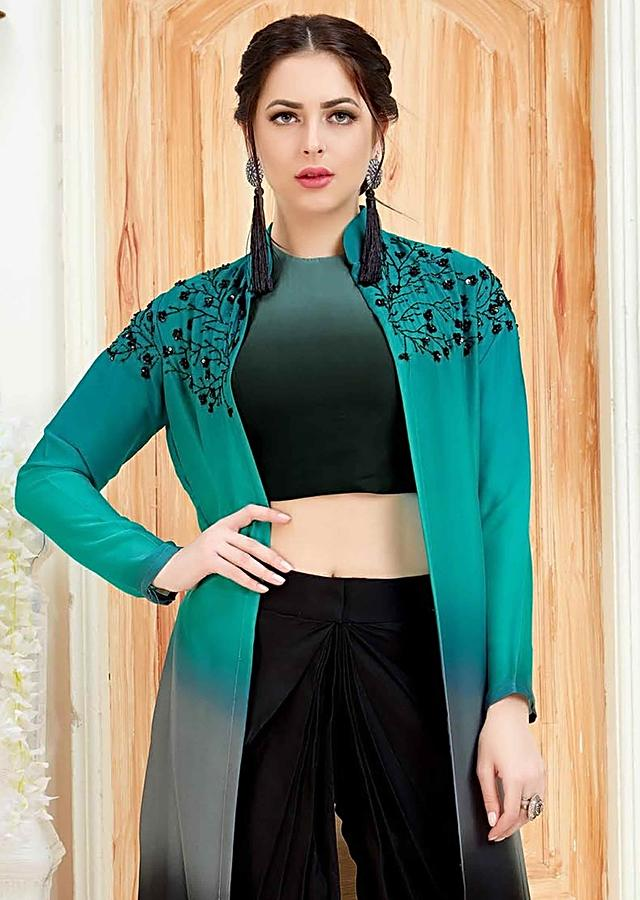 Black Dhoti In Crepe With Shaded Crepe Crop Top And Jacket Online - Kalki Fashion