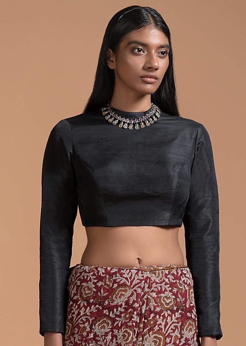 Black Crop Top In Raw Silk With A High Neckline And Full Sleeves Online - Kalki Fashion