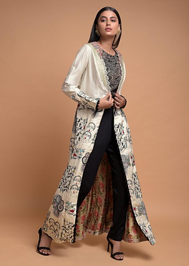 Black Crop Top Suit With Pearl White Jacket With Thread Embroidery Online - Kalki Fashion