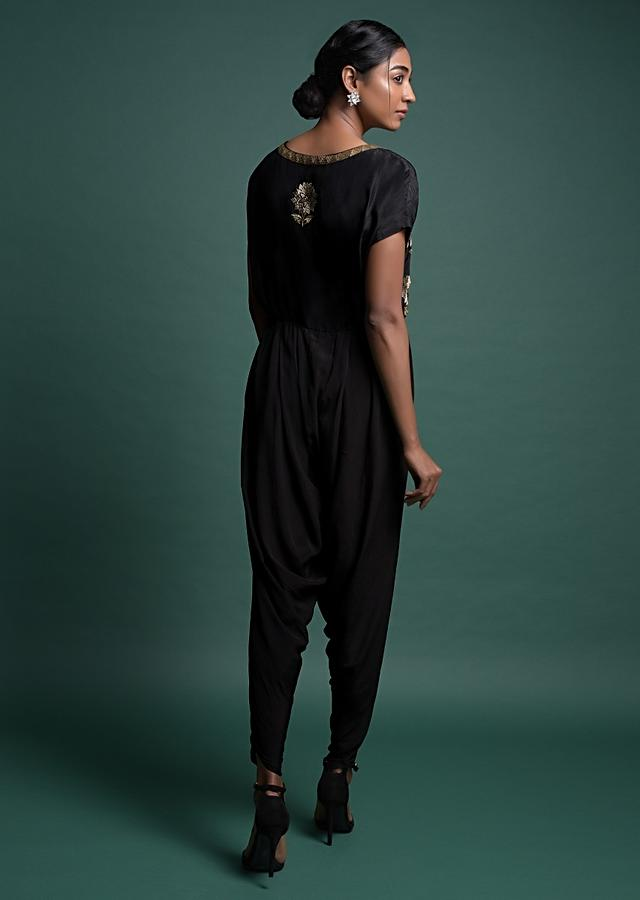 Black Dhoti Style Jumpsuit In Crepe With Embroidered Floral Motifs Online - Kalki Fashion