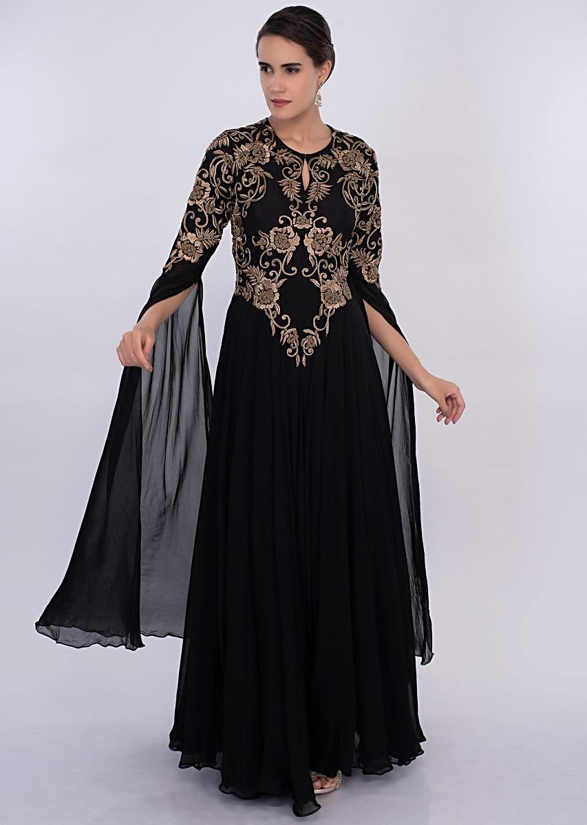 b56e907c1cd Fair Lady Gorgeous 2018 New Ball Gown Evening Dresses Black Appliques Long  Sleeves Formal Prom Dress