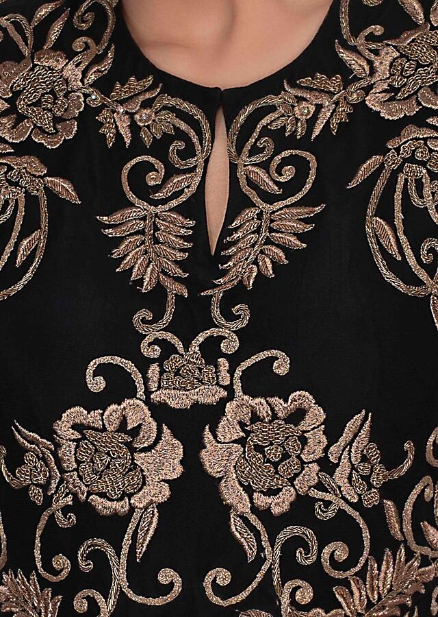 Black Gown With Long Flared Sleeves And Embroidery Work Online - Kalki Fashion