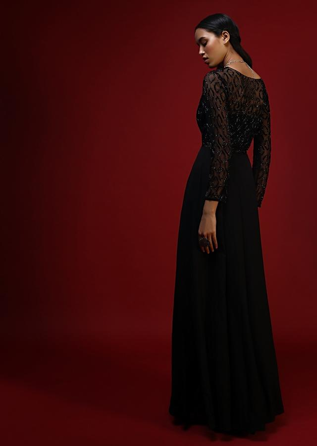 Black Flared Gown In Crepe With Embellished Sheer Net Detailing On The Bodice Online - Kalki Fashion