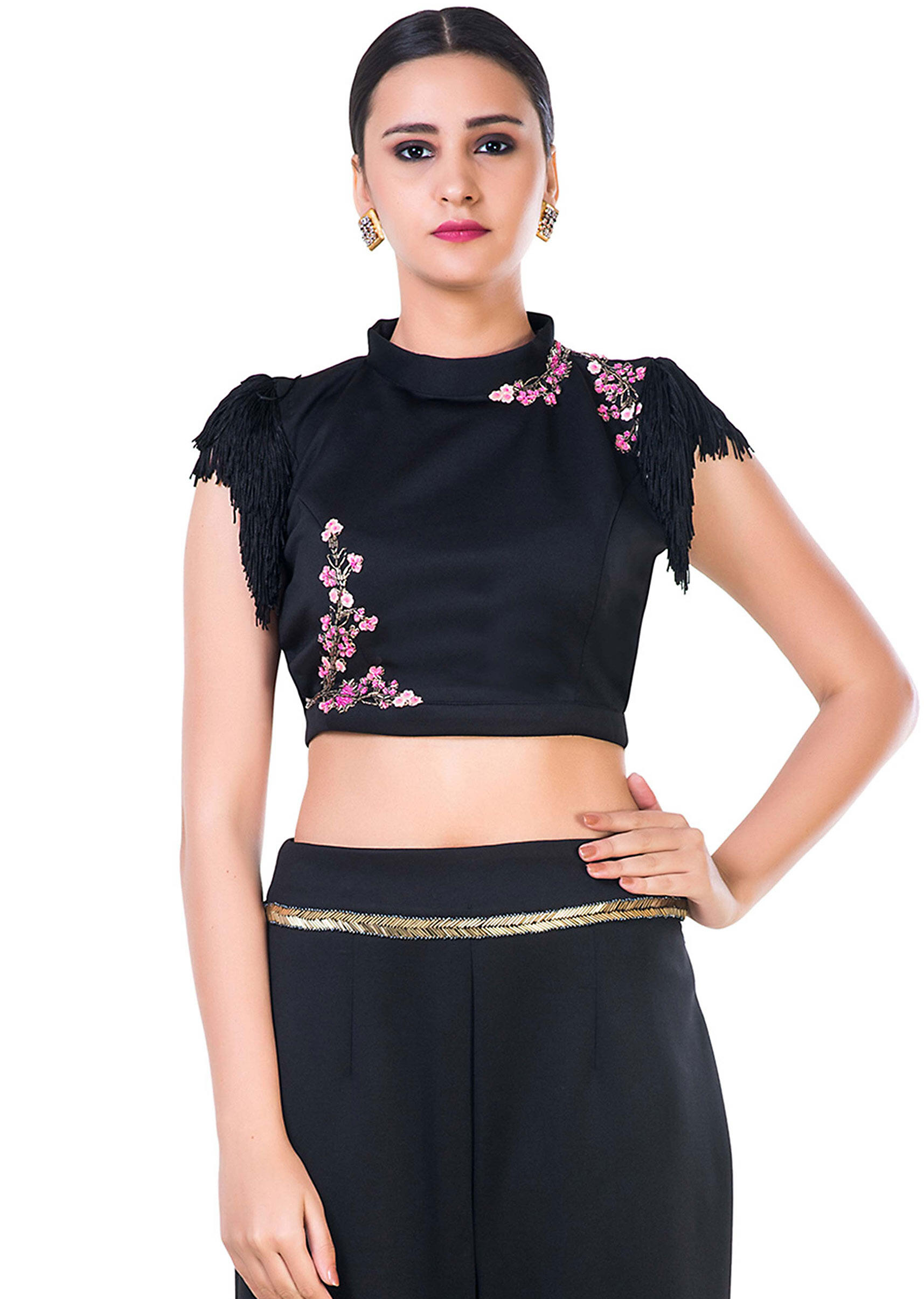 2d01d2c8b02496 Black Fringe Sleeveless Crop Top with Floral Embroidery and Black Palazzo  Pant