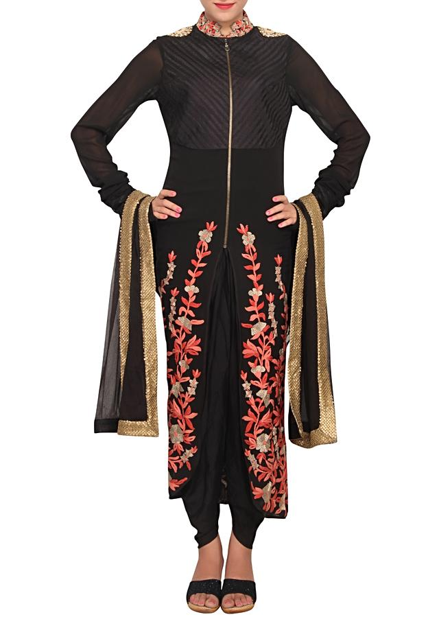 Black front open salwar kameez with zip featuring in chiffon only on Kalki