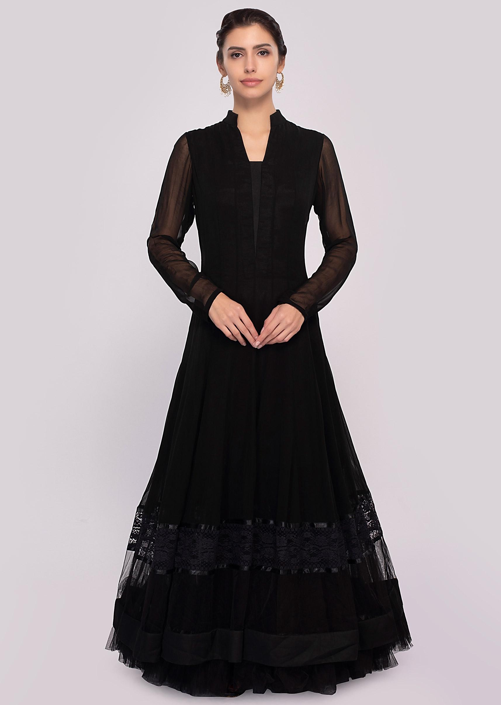 429f189eb6cc Black georgette anarkali dress paired with raw silk pant and shiffon dupatta  only on Kalki