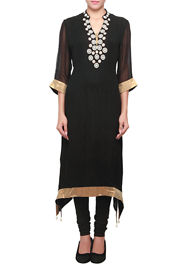 Black georgette kurti embellished pearl and moti embroidery only on kalki