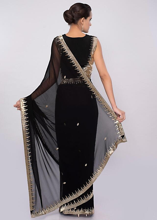 Black Georgette Saree With Cut Dana Embroidery And Butti Online - Kalki Fashion