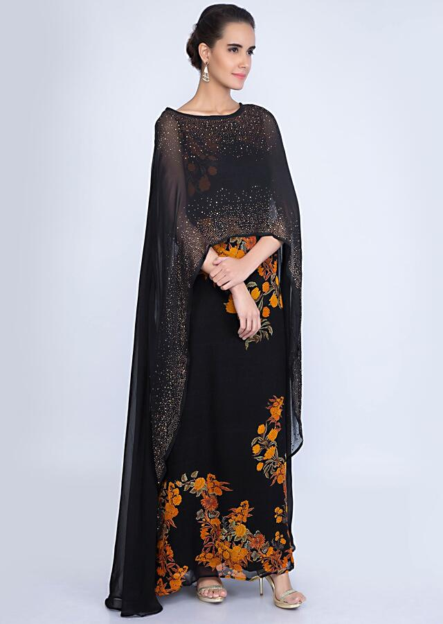 Black Tunic Dress In Georgette With Attached Cape Online - Kalki Fashion
