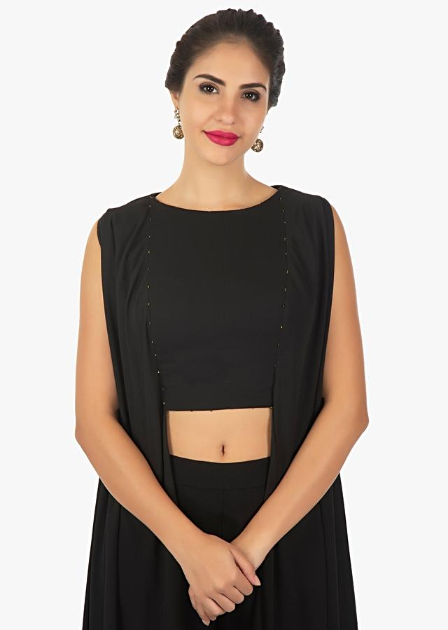 Black Tunic In Georgette With Front And Side Slits Online - Kalki Fashion