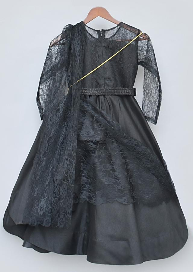 Black Gown In Silk With Pleated Drape Layer, Attached Lace Dupatta An Embroidered Belt By Fayon Kids