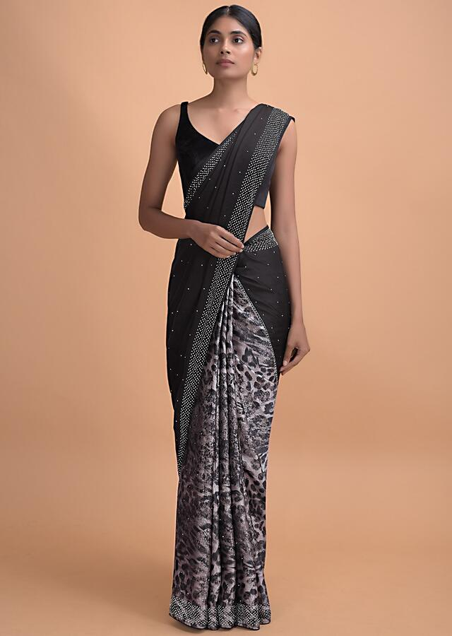 Black Half And Half Saree In Satin Crepe With Animal Print On The Pleats Online - Kalki Online