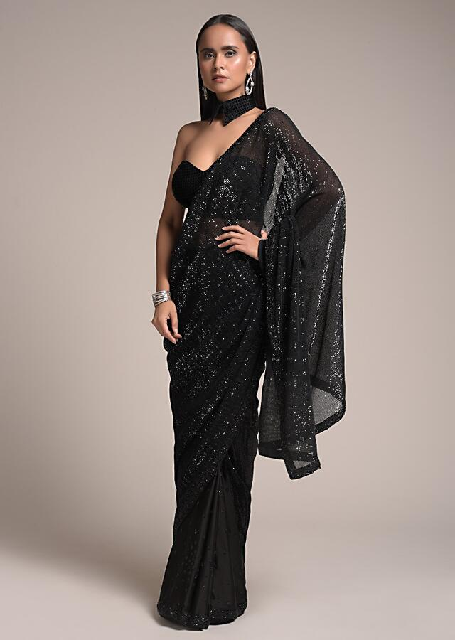 Black Half And Half Saree In Satin With Sequins Buttis And Crushed Sequins Pallu Online - Kalki Fashion