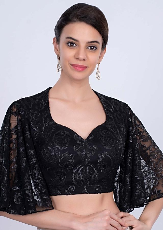 Black Blouse In Hard Net With Flared Circular Sleeves Online - Kalki Fashion