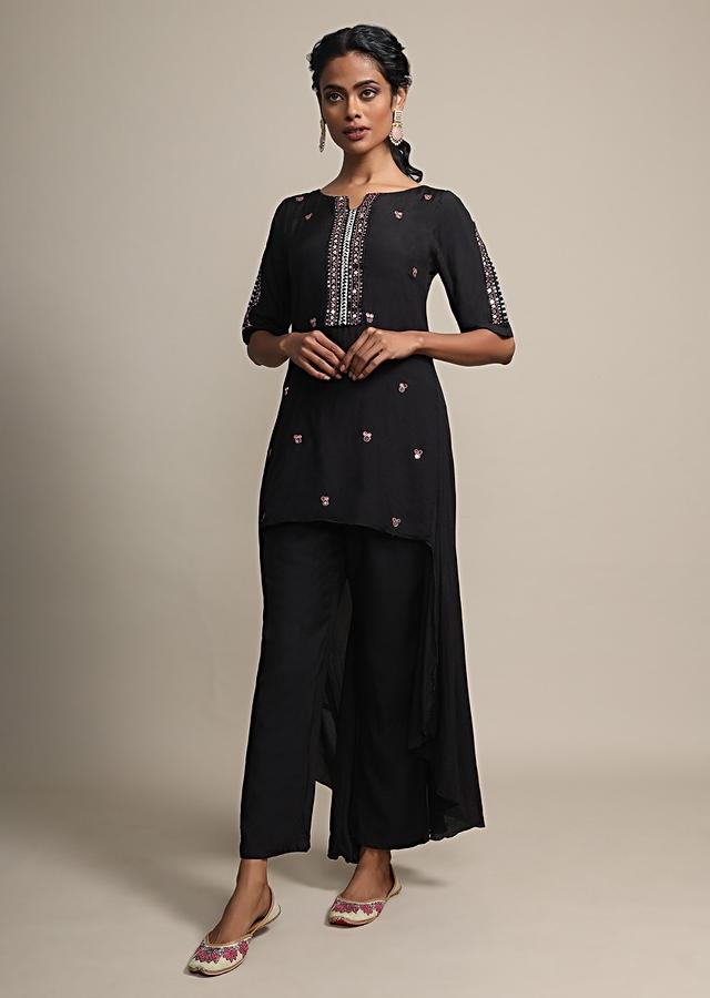 Black High Low Suit With Mirror Embroidery And Matching Pants Online - Kalki Fashion