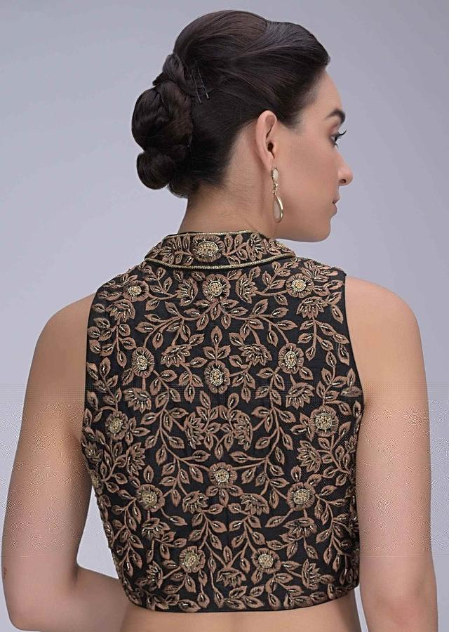 Black High Neck Blouse In Raw Silk With Embroidered Floral Pattern Online - Kalki Fashion