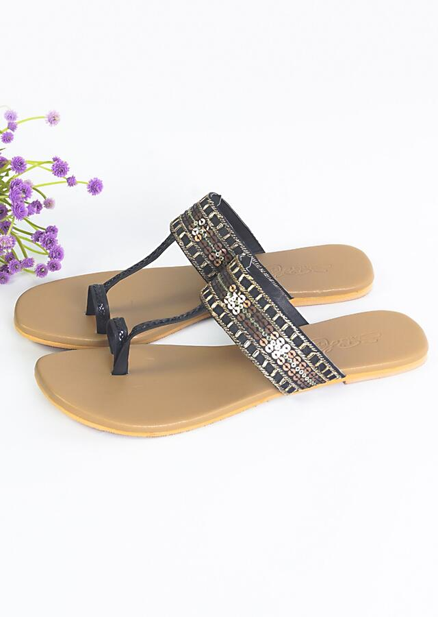 Black Kolhapuri Flats With Gold Sequins And Zari Work By Sole House