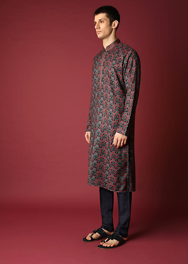 Black Kurta Set In Suiting Fabric With Jaal Print All Over Online - Kalki Fashion
