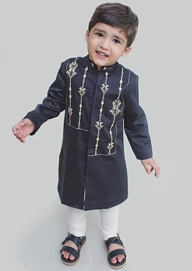 Black Kurta Set With Resham Embroidery In Persian Art Inspired Motifs By Tiber Taber