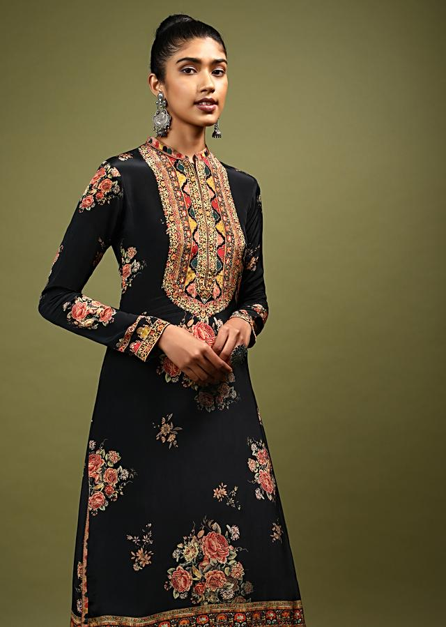 Black Kurti In Crepe With Floral And Mughal Print And Kundan Accents Online - Kalki Fashion
