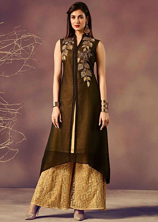 Black Kurti In Georgette With Zari And Moti Embroidery In Leaf Motif Online - Kalki Fashion