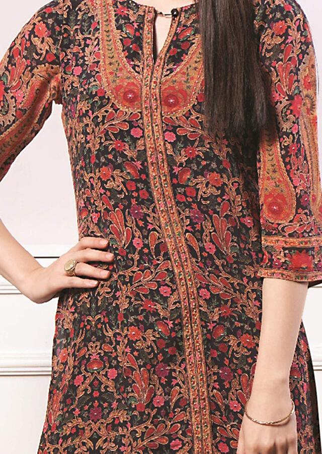Black Long Tunic With Floral Print And Attached Black Inner Online - Kalki Fashion