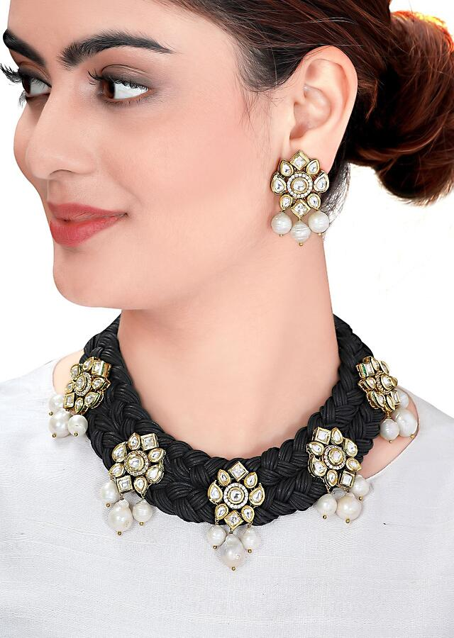 Black Necklace Set With Black Resham, Polki And Lustrous Baroque Pearls Online - Joules By Radhika