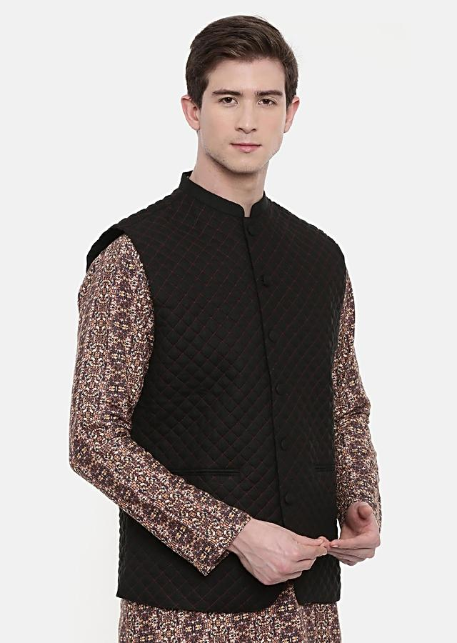 Black Nehru Jacket In Linen With Quilted Design And Red Running Stitch Details By Mayank Modi