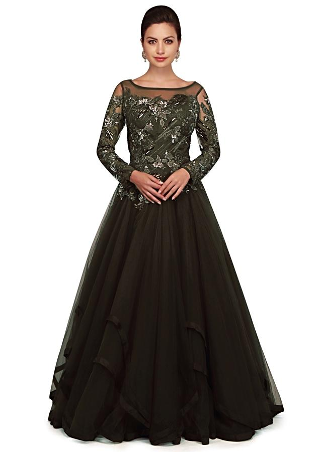 Black Olive Gown With Embroidered Bodice And Fancy Hem Line Online - Kalki Fashion