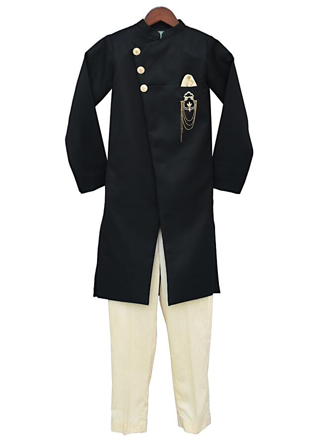 Black Overlapping Ajkan With Tassel Broach Matched With Pant by Fayon Kids