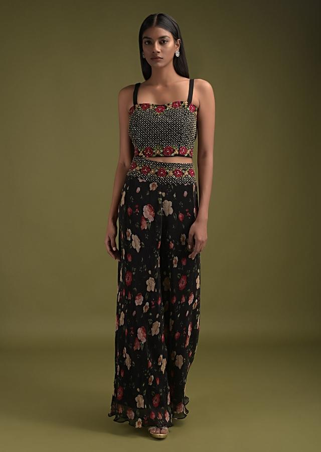 Black Palazzo Suit In Crushed Georgette With Floral Print And Embroidered Crop Top And Jacket Online - Kalki Fashion